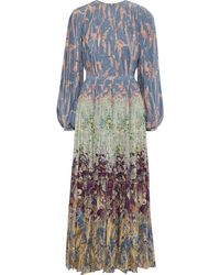 Valentino Pleated Printed Silk Crepe De Chine Maxi Dress Light Blue