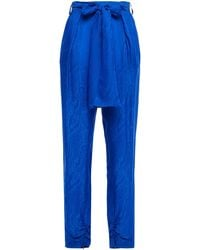 Dundas Belted Pleated Satin-jacquard Tapered Pants Bright Blue