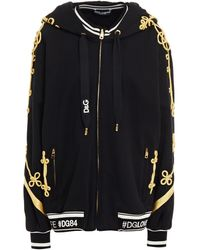 Dolce & Gabbana Metallic Embroidered French Cotton-terry Hoodie - Black