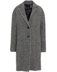 Maje Herringbone Woven Coat - Black