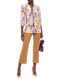 Just Cavalli Tasselled Printed Georgette Blouse Taupe - Multicolour