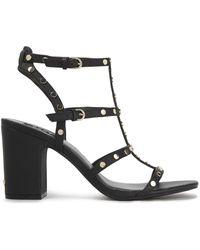 DKNY Studded Pebbled-leather Sandals Black