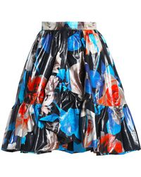 MSGM - Ruffled Floral-print Coated-cotton Skirt - Lyst
