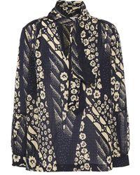 Ba&sh Otello Tie-neck Floral-print Georgette Blouse - Blue