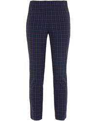 Rag & Bone Simone Cropped Checked Twill Skinny Trousers - Blue