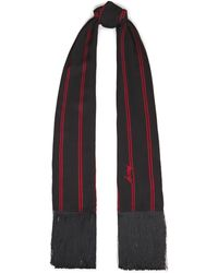 McQ Fringed Printed Crepe De Chine Scarf Black