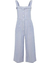 Iris & Ink - Susie Cropped Striped Cotton And Linen-blend Jumpsuit - Lyst
