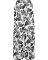 Onia Chloe Printed Poplin Wide-leg Pants Black