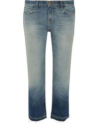 Current/Elliott The Cropped Distressed Mid-rise Straight-leg Jeans Light Denim - Blue