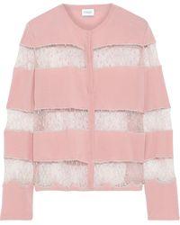 Giambattista Valli - Chantilly Lace-paneled Wool Cardigan Pink - Lyst