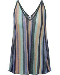 M Missoni Metallic Striped Knitted Tank Multicolor - Blue