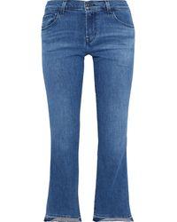 J Brand Selena Faded Mid-rise Kick-flare Jeans Blue
