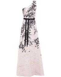 Marchesa notte One-shoulder Metallic Floral-print Jacquard Gown Pastel Pink