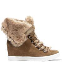 Donna Karan Cristin Faux Fur Lace-up Boots - Brown