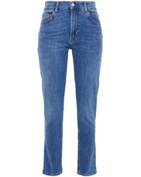 Reformation Faded High-rise Skinny Jeans Mid Denim - Blue