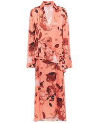 Mother Of Pearl Alba Floral-print Satin Peplum Midi Dress Antique Rose - Pink