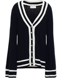 Zimmermann Intarsia Wool And Cashmere-blend Cardigan Navy - Blue