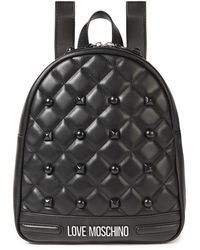 Love Moschino Studded Quilted Faux Leather Backpack Black