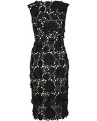 7eb7b1bdf04 MILLY - Woman Mari Floral-appliquéd Guipure Lace Dress Black - Lyst