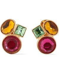 Ben-Amun 24-karat Gold-plated Swarovski Crystal Clip Earrings Multicolour - Metallic