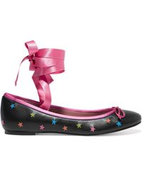RED Valentino - Satin-trimmed Embroidered Leather Ballet Flats - Lyst