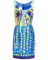Moschino Printed Crepe Mini Dress - Blue