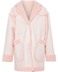 Opening Ceremony - Woman Reversible Faux Shearling And Faux Patent-leather Coat Pastel Pink - Lyst