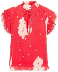 Ganni Bluse aus plissiertem chiffon mit polka-dots und rüschenbesatz - Rot