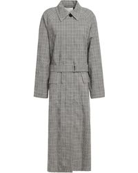 3.1 Phillip Lim - Prince Of Wales Checked Wool-blend Trench Coat Black - Lyst
