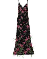 Marchesa notte - Feather-embellished Embroidered Tulle Gown Black - Lyst