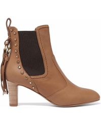 See By Chloé - Dasha Studded Textured-leather Ankle Boots - Lyst