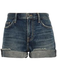 Current/Elliott The Boyfriend Rolled Distressed Denim Shorts Mid Denim - Blue