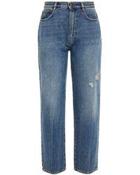 McQ Distressed High-rise Straight-leg Jeans Light Denim - Blue