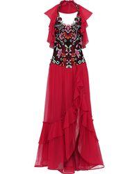 Alberta Ferretti Embellished Tulle-paneled Ruffled Silk-chiffon Gown - Red