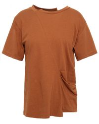 Rejina Pyo Draped Cotton-jersey T-shirt Light Brown