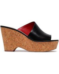 Diane von Furstenberg Leather Wedge Sandals Black
