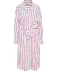 Être Cécile Être Cécile Lauren Belted Striped Cotton-blend Poplin Shirt Dress - White