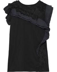 CLU Lace-paneled Pleated Ruffled Cotton-jersey Top Black