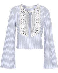Lover - Woman Lace-trimmed Striped Cotton-poplin Shirt Light Blue - Lyst