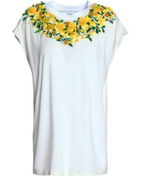 Vionnet - Embellished Floral-appliquéd Jersey T-shirt - Lyst