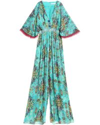 Matthew Williamson - Smocked Printed Silk Jumpsuit Light Green - Lyst