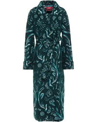 F.R.S For Restless Sleepers Acheso Belted Brushed Jacquard Coat - Green