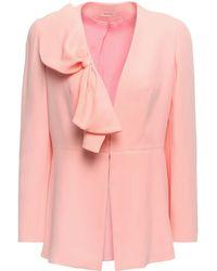 Delpozo Bow-embellished Crepe Jacket Baby Pink