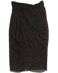 Ba&sh Scarlette Wrap-effect Ruched Zebra-print Georgette Skirt Dark Brown
