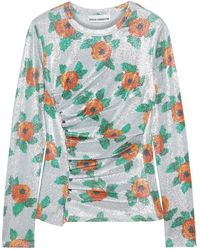 Paco Rabanne Ruched Floral-print Stretch-lamé Top Silver - Metallic