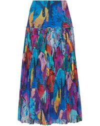 Matthew Williamson - Maraval Hills Pleated Printed Silk-chiffon Midi Skirt - Lyst