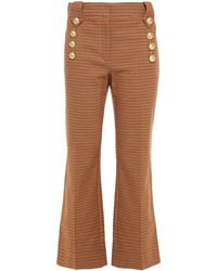 10 Crosby Derek Lam Houndstooth Cotton-blend Twill Kick-flare Trousers - Natural