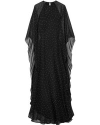 Michelle Mason Polka-dot Silk-chiffon Gown - Black