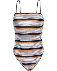ViX Ava Suri Lace-up Striped Swimsuit - White