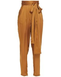 Zimmermann Resistance Belted Silk Tapered Pants Light Brown